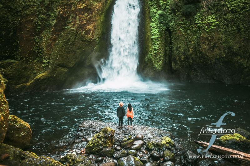 Wahclella Falls Engagement Photos