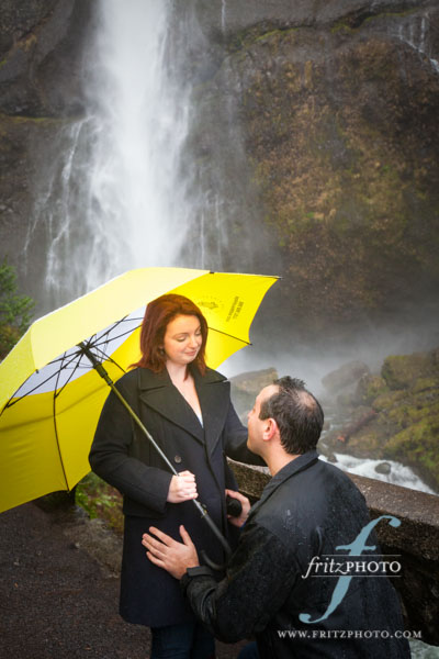 Multnomah Falls Proposal Engagement Photography