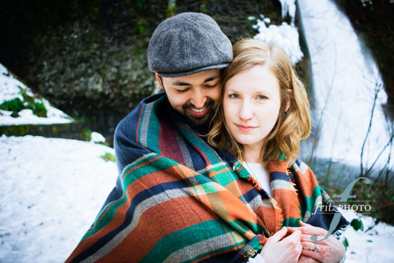 snow engagement portraits portland