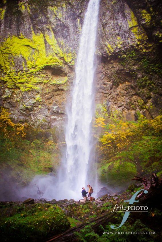 Proposal photography Oregon Falls