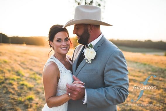 Portrait of bride and groom at sunset Salem Oregon