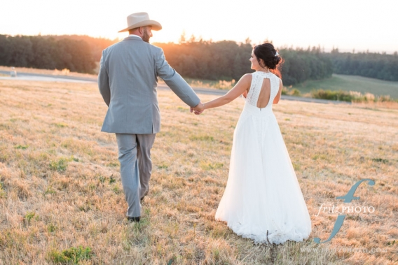 Portrait of bride and groom at sunset Silverton Oregon