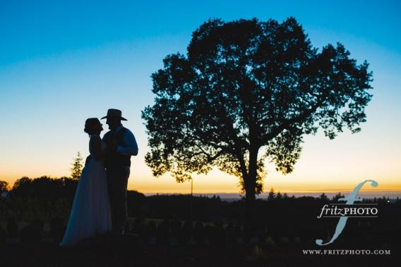 Portrait of bride and groom at dusk in Salem, Oregon