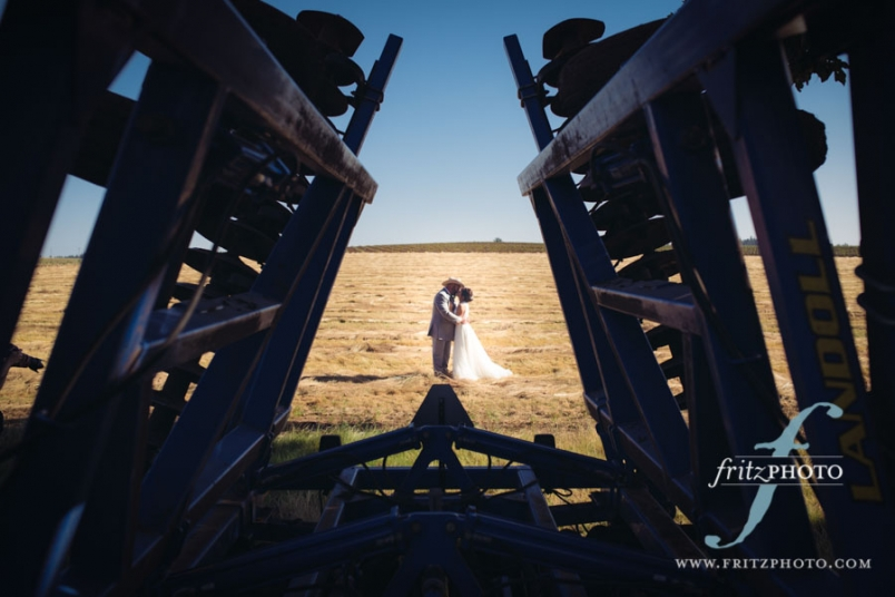 Wedding Portrait of bride and groom at sunset on a farm in Oregon