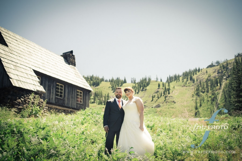 Mt Hood Skibowl wedding photography with the bride and groom