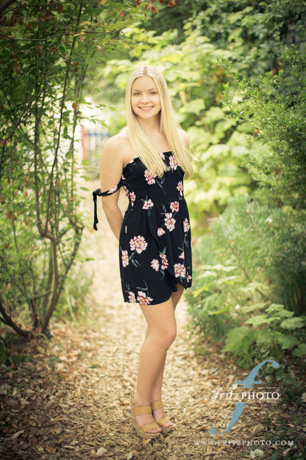 Senior photo of blond girl in NW Portland