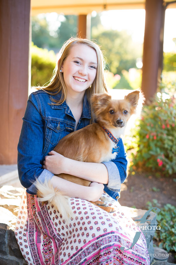 Senior portrait with a pet dog in Beaverton