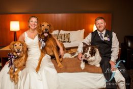 bride and groom with their dogs at their wedding at resort at the mountain in oregon