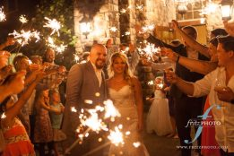 A fun sparkler send off for the happy couple at the aerie