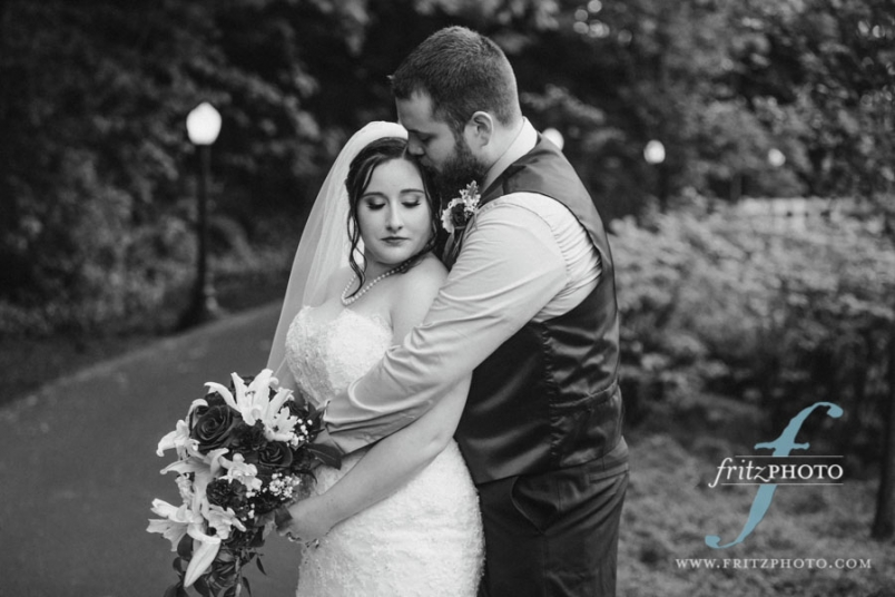 the sweet couple at their wedding at abernethy center in portland oregon