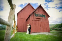 Wedding photo of bride and groom kissing in Sun Valley, Idaho