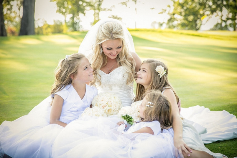 Bride and junior bridesmaids wedding photos at The Aerie at Eagle Landing