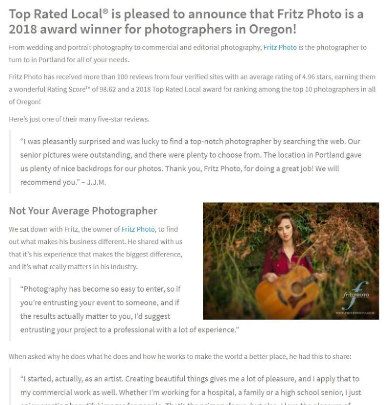 Article about portland photographer FritzPhoto