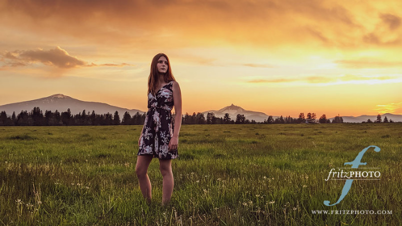 Model and sunset in Sisters, Oregon