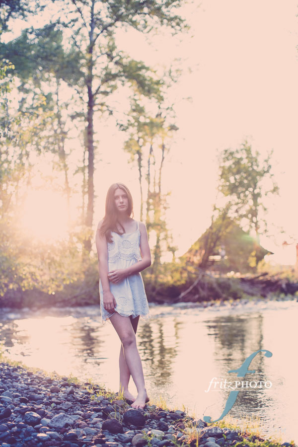 beautiful young model at a river