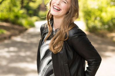 Model portfolio photo laughing in Portland