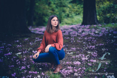 a field of crocuses at jenkins estate for high school senior portraits