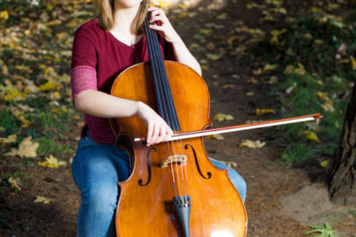 Portland senior photo with cello