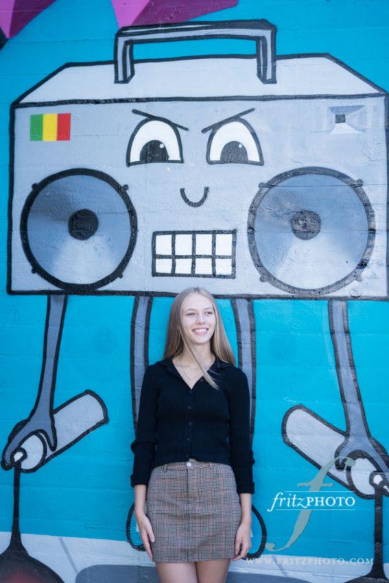 Portland senior photo with graffitti