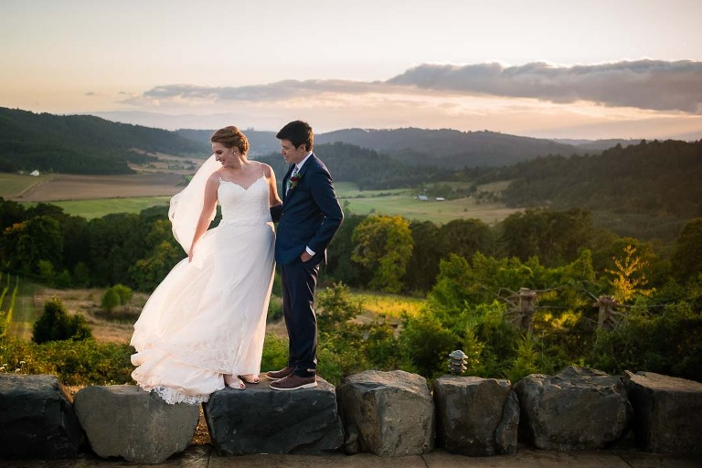 Bride and groom above Willamette Valley at a wedding photographed at Youngberg Hill Vineyard and Inn