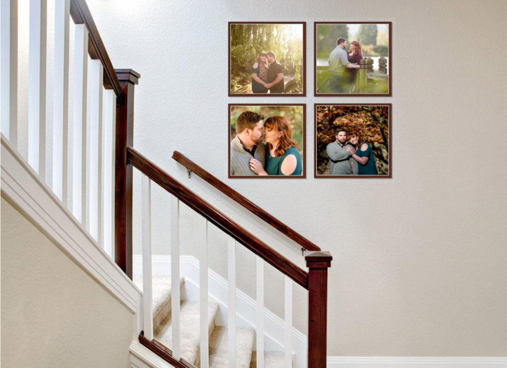 Engagement portrait prints in the stairwell