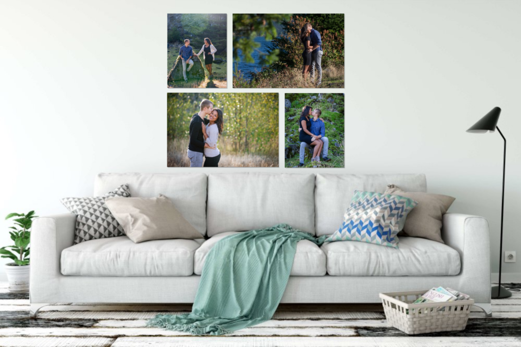 Engagement portrait wall collection in the living room
