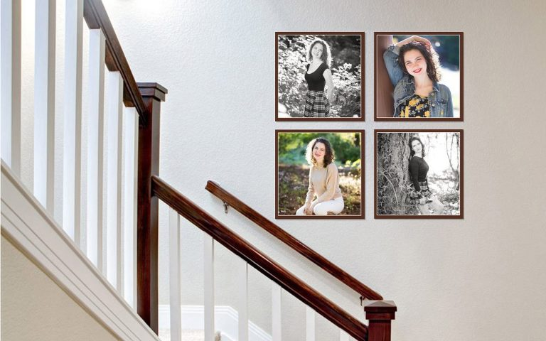 Portland senior photos on a stairwell wall