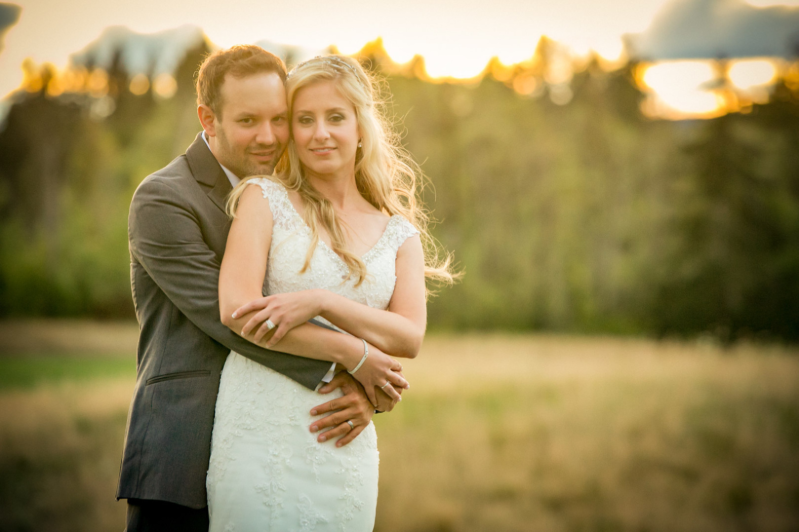 Bride and groom portrait on the golf course at Pumpkin Ridge wedding