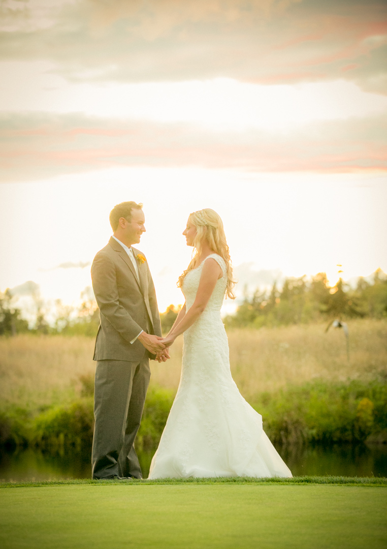Bride and groom portrait on the golf course at Pumpkin Ridge Golf Course wedding