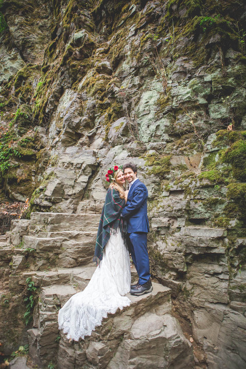 Gorge waterfall engagement portrait