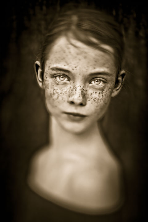 fine art photography portrait of girl with freckles