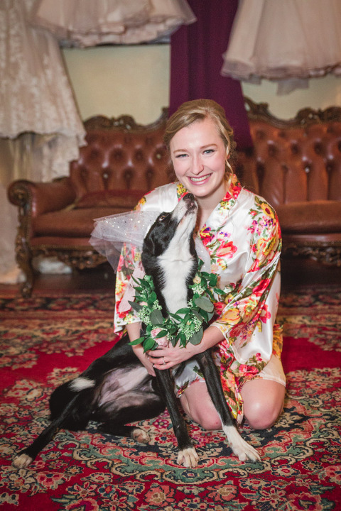 Bride with dog at Edgefield