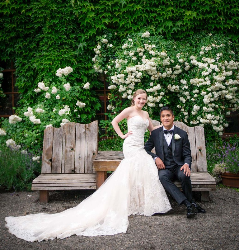 Bride and groom portrait with flowers at mcmenamins edgefield wedding